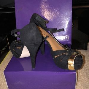Madden Girl black and gold T-strap heel!